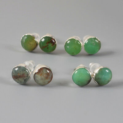 5Pair 925 Sterling Silver 8mm Cambered Round Studs, Natural Chrysoprase BSS138