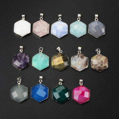 5Pcs 925 Sterling Silver Hexagon Faceted Pendant, Multi-Kind Stone NEW BSS150