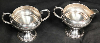 FB Rogers MARGARET ROSE Sterling Silver Sugar Creamer Tea Set weighted Vintage