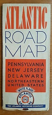 ATLANTIC GASOLINE Vintage 1930's ROAD MAP Pennsylvania NJ Delaware WHITE FLASH