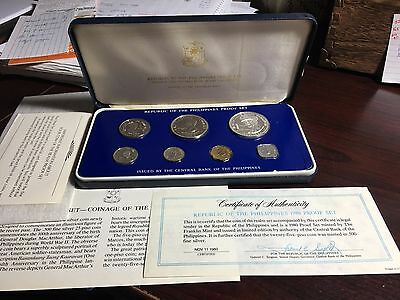 Philippines 1980  7-Coin Proof Set With Case, Certificate And Literature