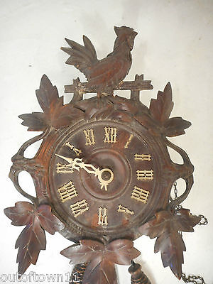 Antique Black Forest Wall Clock , Rooster , Cockrel
