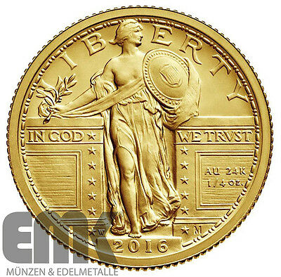 USA - 25 Cents 2016 - Standing Liberty Centennial Quarter - 1/4 Oz. Gold in Stgl