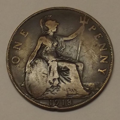 1918 GREAT BRITAIN ONE PENNY (1d) COIN