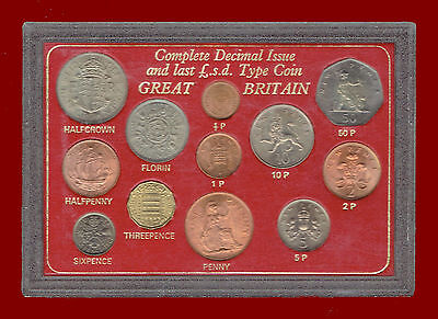 GREAT BRITAIN (OLD & NEW) COLLECTION (LAST £.s.d. & NEW DECIMAL ISSUE) 12 COINS