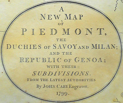 1799 Large Antique Map Chart John Cary Piedmont Italy Europe