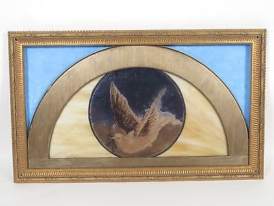Antique Dove Bird Church Stained Glass Window Reverse Painted in Gold Frame