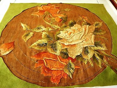 Antique Embroidery, Beautiful Old Underlined Embroidery Panel.