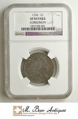 XF Details 1794 Flowing Hair Large Cent - Graded NGC *SC90