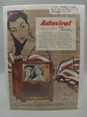 1951 Orig Color Print Ad Admiral T.V. Clearest Picture