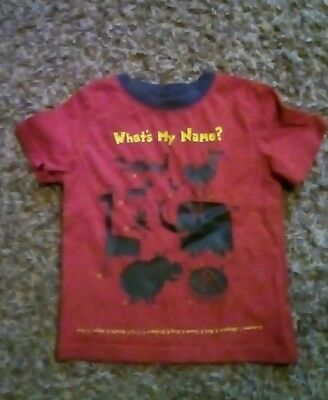 "Toddler Boy Size 2t Red Short Sleeve  "" What's My Name?"" Shirt"
