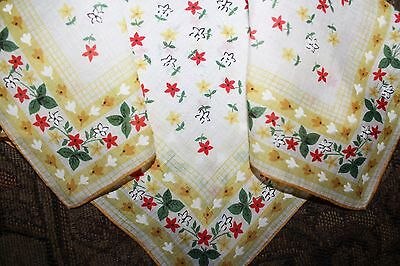 Vintage Sweet Yellow Red & White Flowers Green Leaves Hand Rolled Hankie