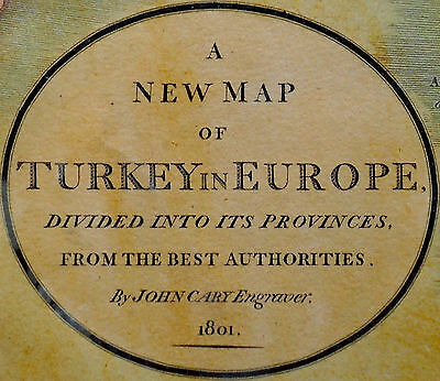 1801 Large Antique Map Chart John Cary Turkey Croatia Bosnia Serbia Europe