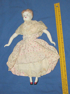 """Vintage Hand Painted Ceramic Doll Cloth Body Grace Dolls 17.5"""" Long"""