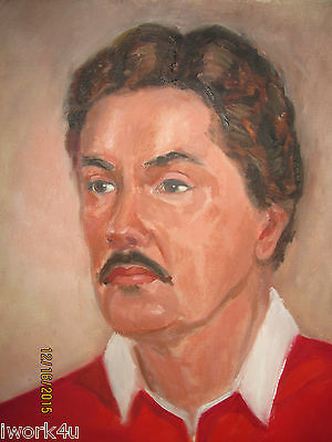 Vintage Un-framed Art Portrait of Man Red Shirt on Canvas by DBA