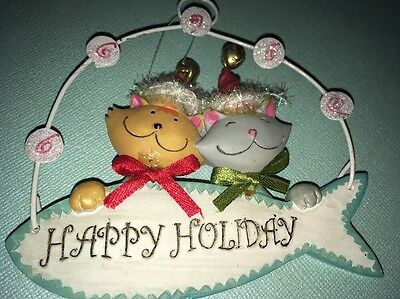 Cats Happy Holiday Ornament Christmas Fish Wire Hanger Jingle Bells  Kitties