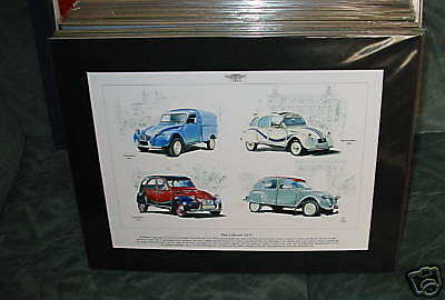 The Citroen 2cv Cars   Mounted full colour Print