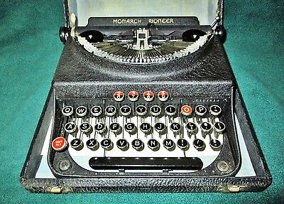 Vintage Monarch Pioneer Portable Typewriter with Red Keys & Hard Carrying Case