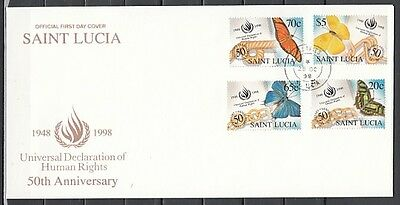 * St. Lucia, Scott cat. 1091-1094. Human Rights & Butterflies. First day cover.