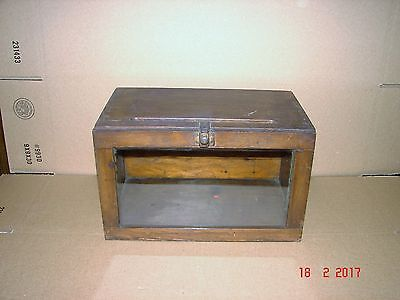 Antique Glass Front, Drop Down Apothecary, Medical, Medicine Wall Box, Cabinet