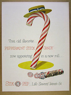 1950 Life Savers Stik-O-Pep peppermint stick candy Lifesavers vintage print Ad