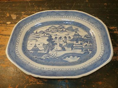 Antique Blue & White Canton Chinese Porcelain Pottery Small Platter Tray