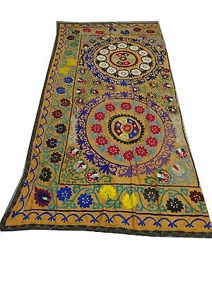 Vintage Hand Made Silk Embroidery Wall hanging Uzbek Suzani Upholstery 8x4 (s30)