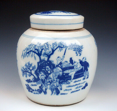 Antique Blue&White Glazed Porcelain *Oriental Kids Playing* Painted Ginger Jar