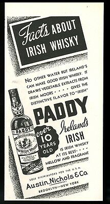 1934 Paddy Irish Whisky bottle art vintage print ad