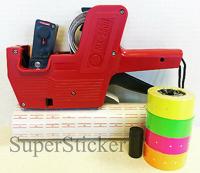 MX-5500 8 Digits Price Tag Gun + 5000 White w/ Red lines  labels + Free gift
