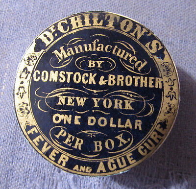 Antique Medical 1870S 80S Dr Chiltons Fever & Ague Cure Pill Box New York