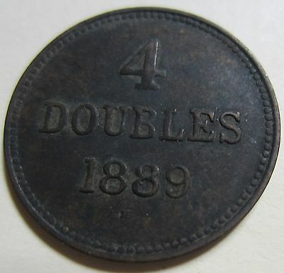 1889 Bailiwick of Jersey (Guernsey) Four DOUBLES Coin. BETTER GRADE (W1729)