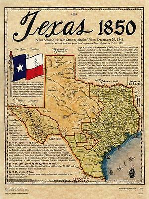 Texas 1850 Historical Map Old Antinqued Look Colorful