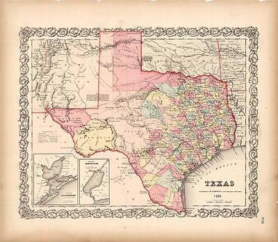 Antiqued Texas New Mexico 1856 Map Historical Reproduct