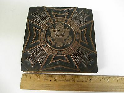 VINTAGE VETERANS OF FOREIGN WARS of USA EAGLE Printing Printer Block Wood Copper
