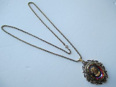 Oval Pendant On Chain Of Color Glass Brass Extruded Woman Head With Frame Ouch