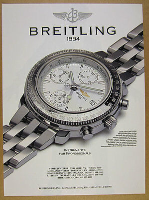 1992 Breitling Chrono Longitude chronograph watch photo vintage print Ad