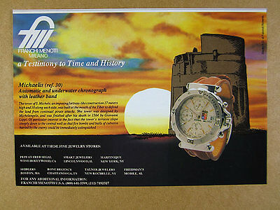 1992 Franchi Menotti MICHAELIS Chronograph watch photo vintage print Ad