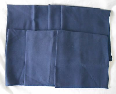 "7 Vintage Solid Navy Blue Linen Table Napkins 17"" Square"