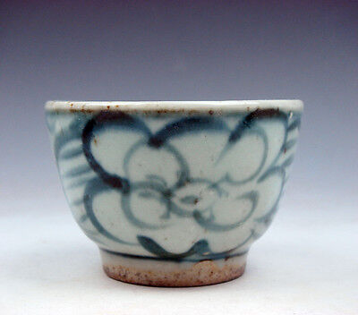 Antique Blue&White Glazed Porcelain Flower Blossoms Hand Painted Cup #01221706
