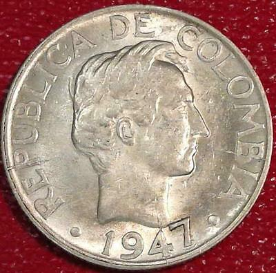 ****world Coin Hoard****1947/5 Colombia Silver 20 Centavos Au/unc #a834