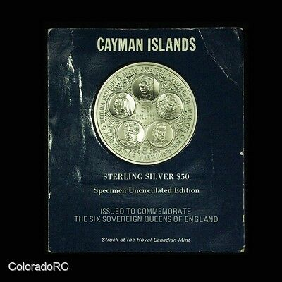 1975 Cayman Islands Sterling Silver $50 Commemorative Coin