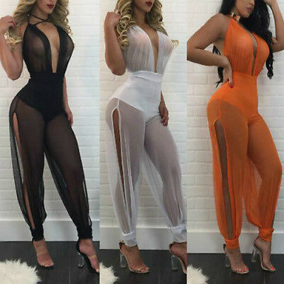 Women Lady Clubwear Playsuit V-neck Mesh Bodycon Party Jumpsuit Romper Trousers