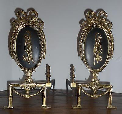 Pair Ornate Antique French Style Brass Andirons - w/Figural Center-Bow Top
