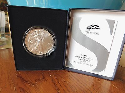 2007 US Mint AMERICAN EAGLE ONE OUNCE SILVER UNCIRCULATED WITH ORIGINAL BOX