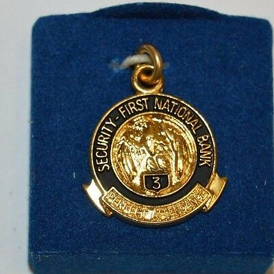Vintage Security First National Bank 3 Year Award Gold Filled Necklace Charm NM