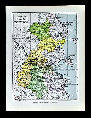 1899 Ireland Map - Dublin County - Kingstown Bray Howth Swords Skerries Lucan
