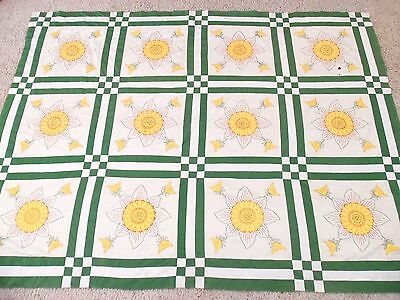 Vintage Sunflower Applique Quilt Top Embroidered Details Green Yellow Flowers