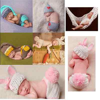 Newborn Baby Boys Girls Crochet Knit Costume Photo Photography Prop Outfits NEW