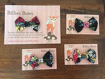 Rock Your Baby, Baby Midnight Garden Fabric Mini Bow By billies Bows